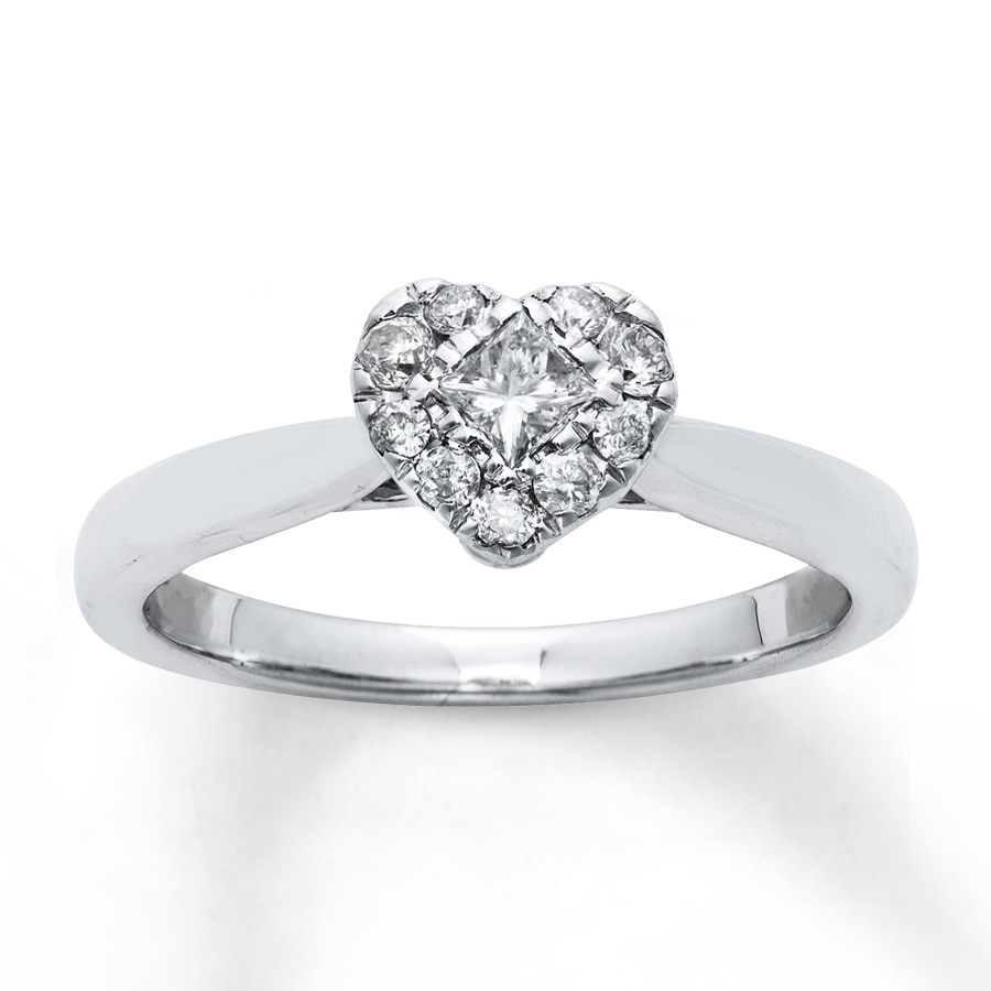 Jared Diamond Engagement Ring 1 3 Carat tw 10K White Gold