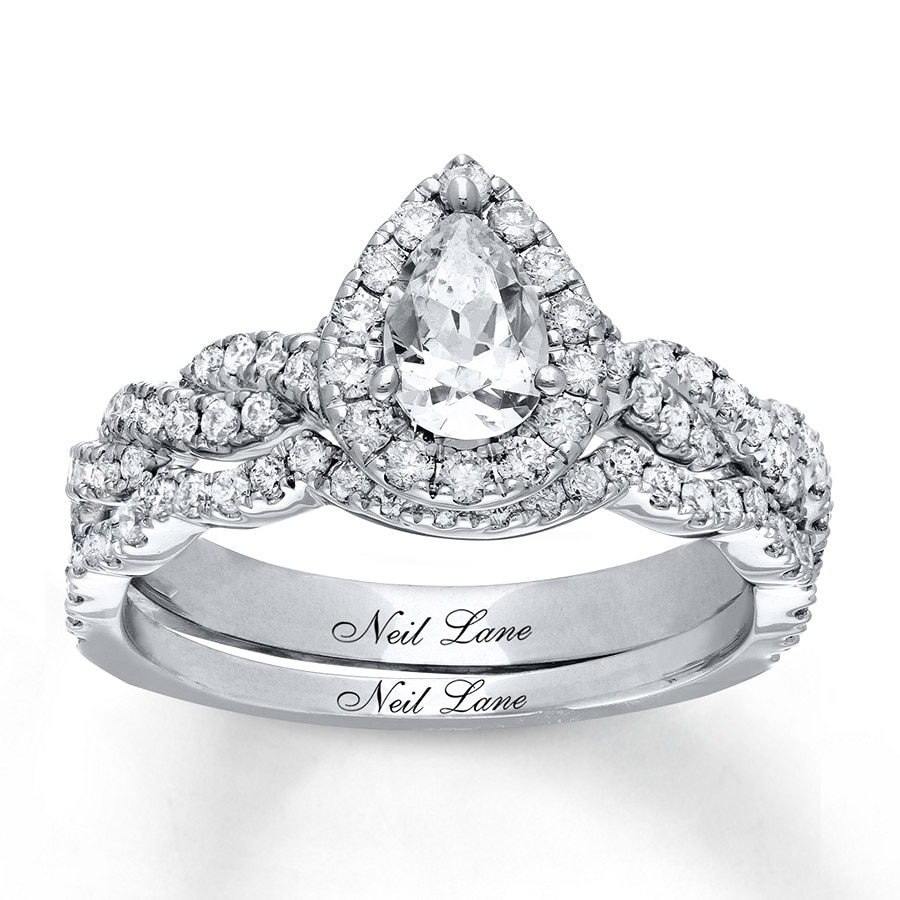 jared - neil lane bridal set 1-1/5 ct tw diamonds 14k white gold