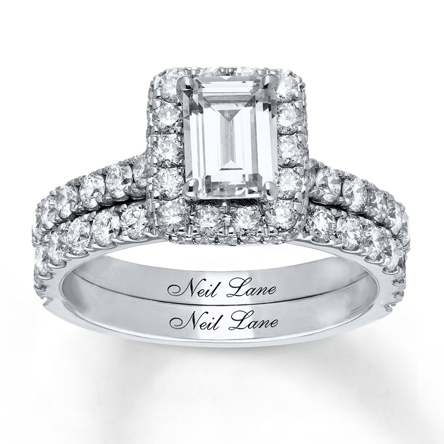 jared - neil lane bridal set 2-1/2 ct tw diamonds 14k white gold