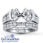 Leo Bridal Setting 1 3/8 ct tw Diamonds 14K White Gold