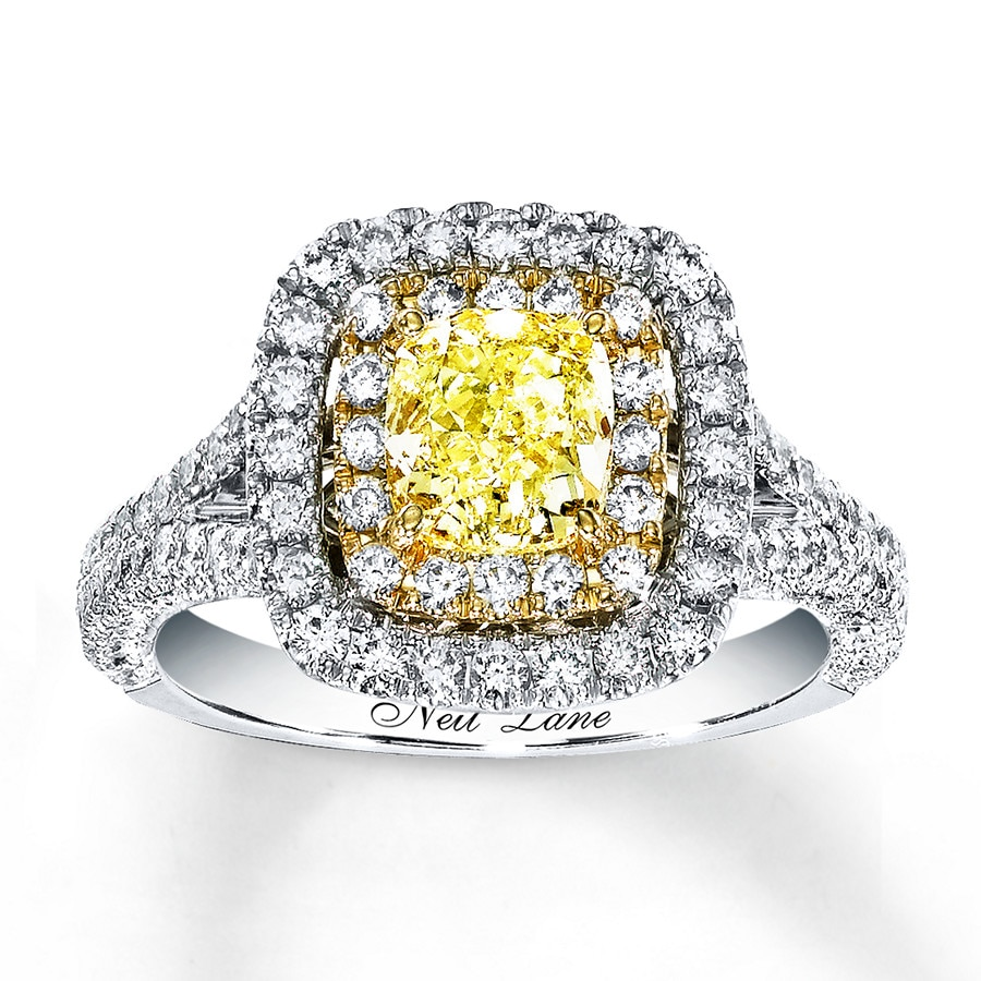 jared - neil lane diamond ring 2 ct tw yellow/white 14k white gold