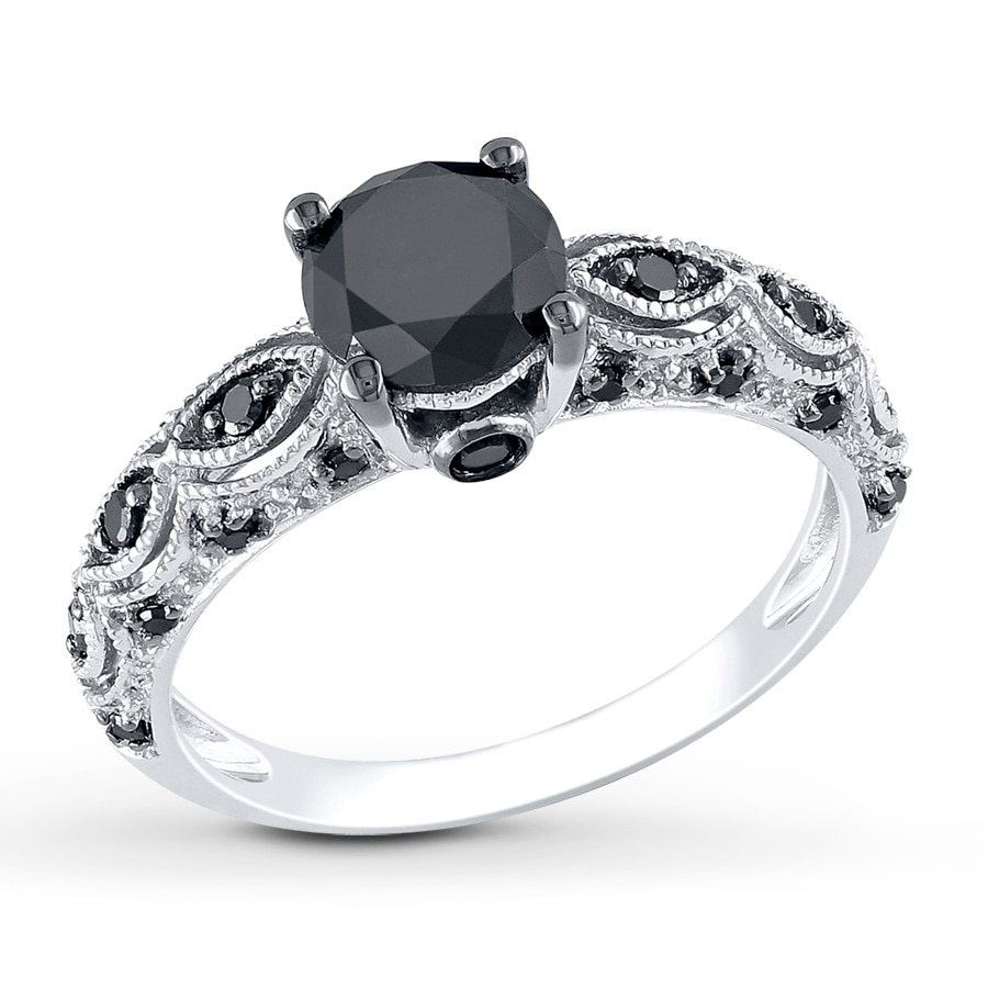 Jared Black Diamond Ring 1 1 4 Carat Tw 10k White Gold