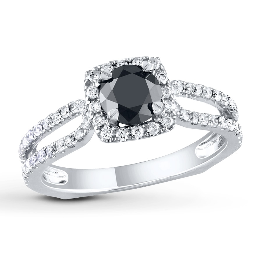 Jared Diamond Engagement Ring 1 1 5 cts Black White 14K White Gold