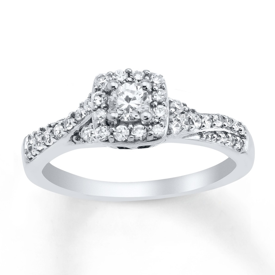 Jared Diamond Engagement Ring 1 2 ct tw Round cut 10K White Gold