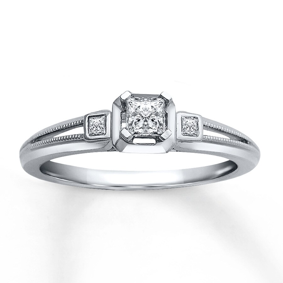 Diamond Engagement Ring 15 ct tw Princess-cut 10K White Gold