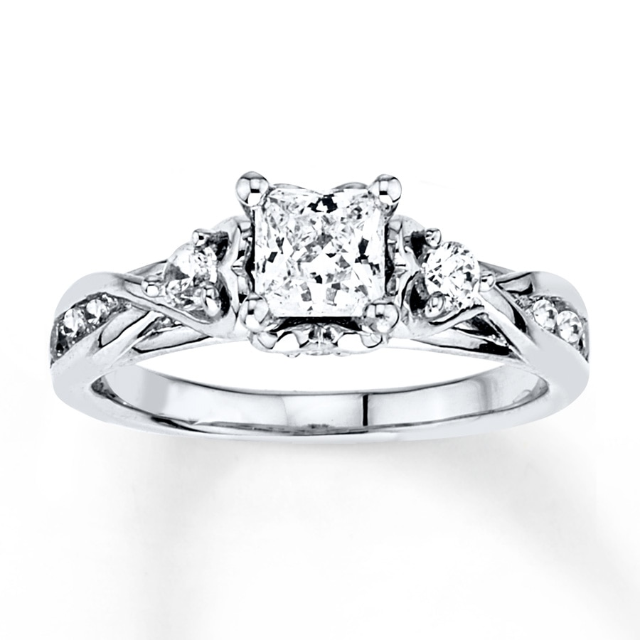 Princess Cut Diamond Wedding Rings | Diamond Engagement Ring 1 Ct Tw Princess Cut 14k White Gold