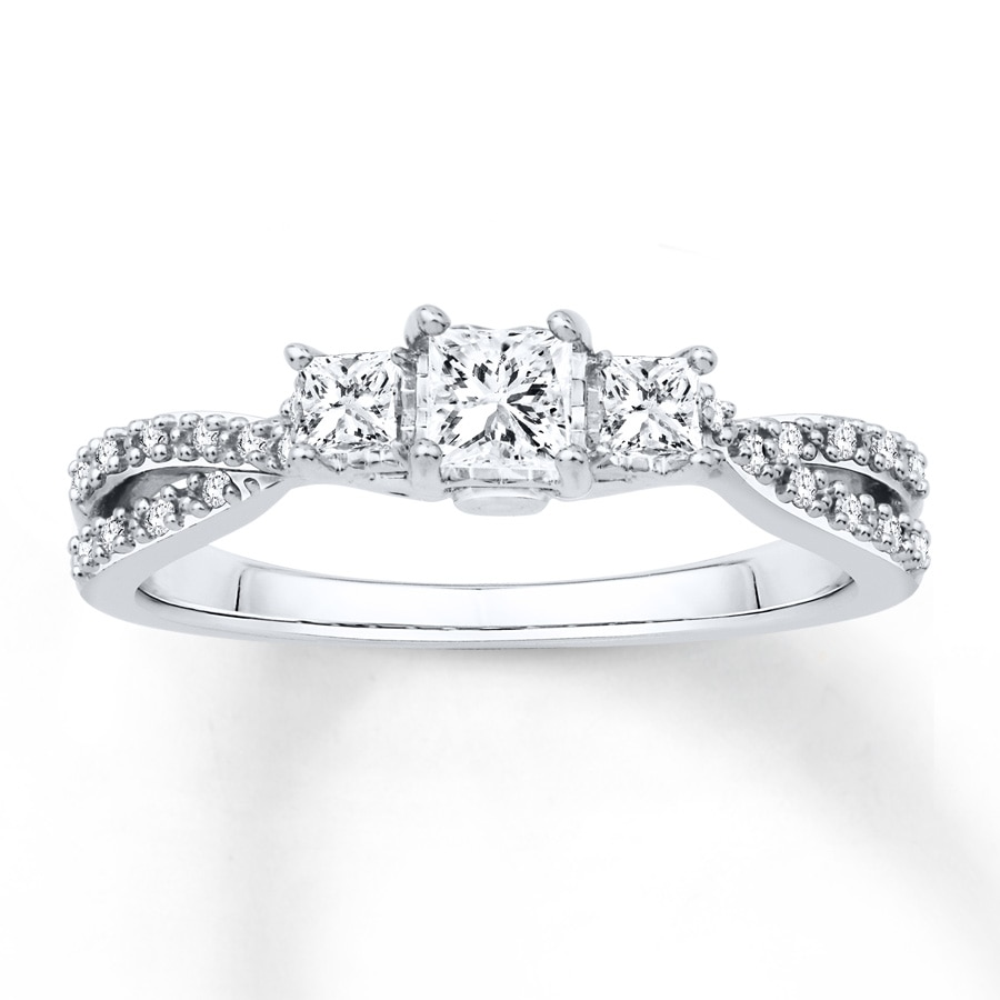 Jared Diamond Engagement Ring 12 ct tw Princesscut 14K White Gold