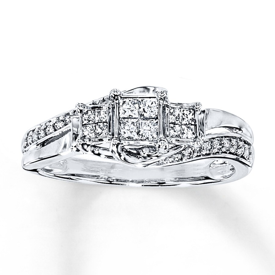 Diamond Engagement Ring 1 3 ct tw Princess Round 14K White Gold. Stock   991218607. Tap to expand f71e1bffae95