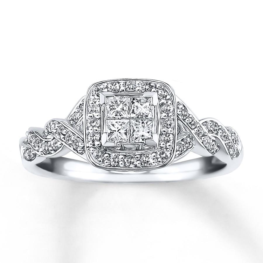 Diamond Engagement Ring 1/2 Ct Tw Princess-cut 14K