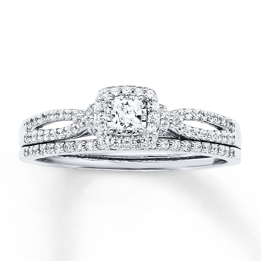 27aa902078f Diamond Bridal Set 1/2 ct tw Princess-cut 14K White Gold