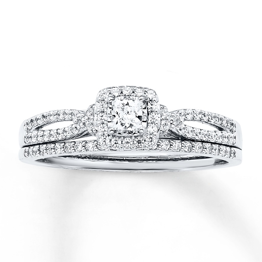 diamond wedding ring set jared bridal set 1 2 ct tw princess cut 14k 3519