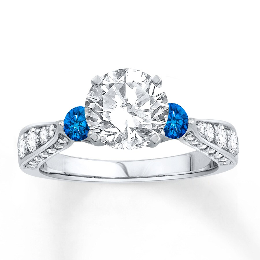 jared engagement ring lab created sapphires 14k