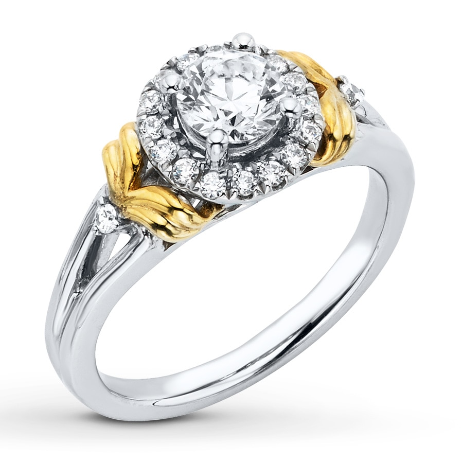 Jared Diamond Engagement Ring 3 4 ct tw Round cut 14K Two Tone Gold