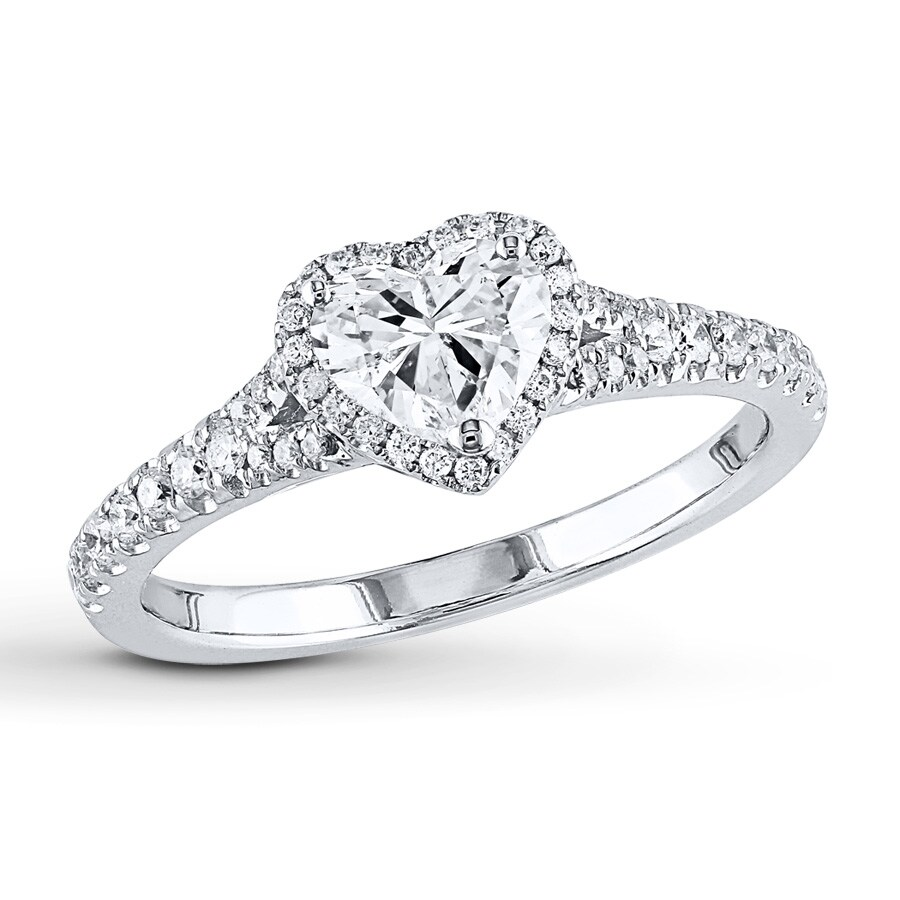 K White Gold Diamond Heart Ring