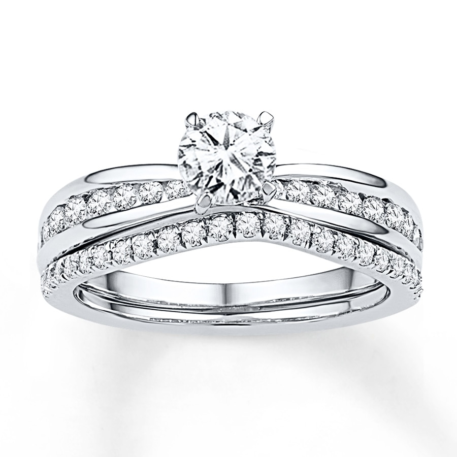 Jared Diamond Bridal Set 78 ct tw Roundcut 14K White Gold