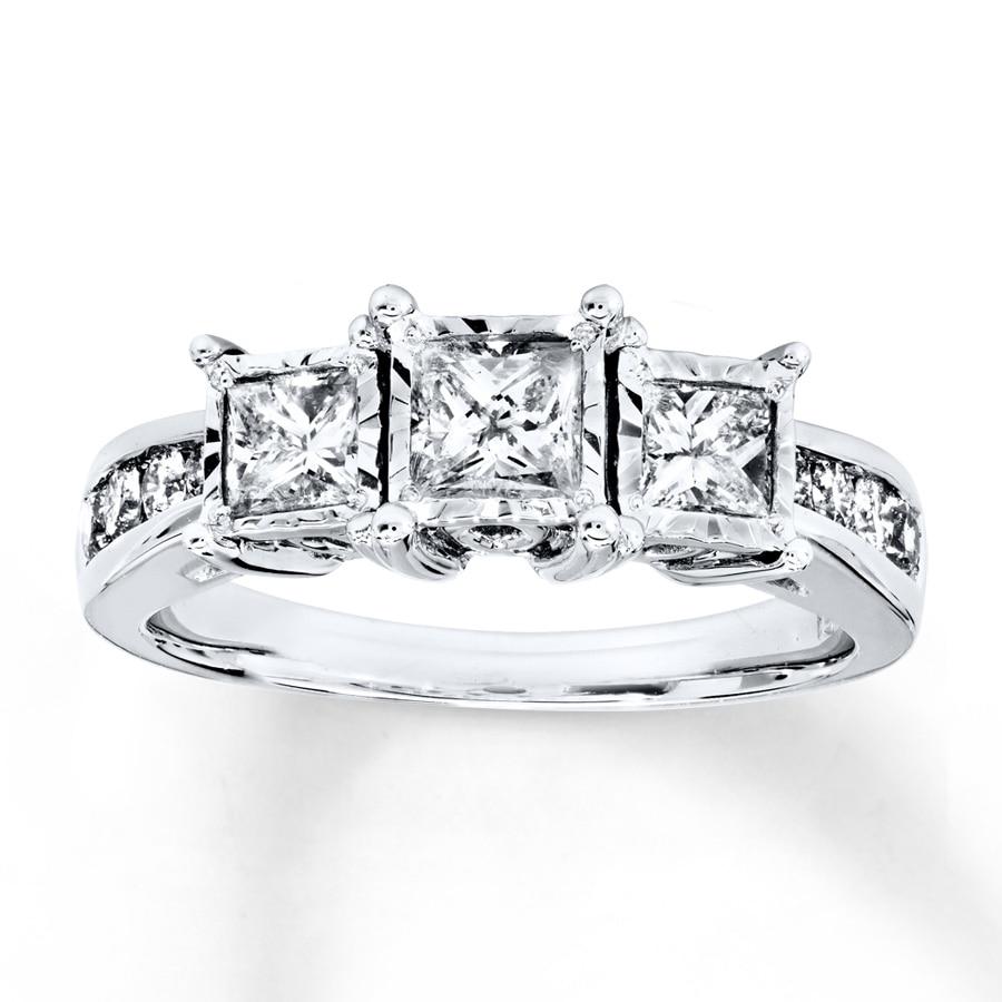 da7ec0c05196 Diamond 3-Stone Ring 1 ct tw Princess-cut 14K White Gold - 991470802 ...