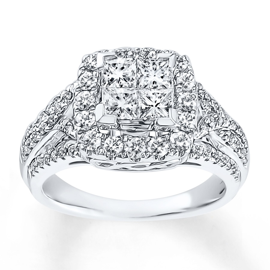 Jared Diamond Engagement Ring 1 3 8 ct tw Princess cut 14K White Gold