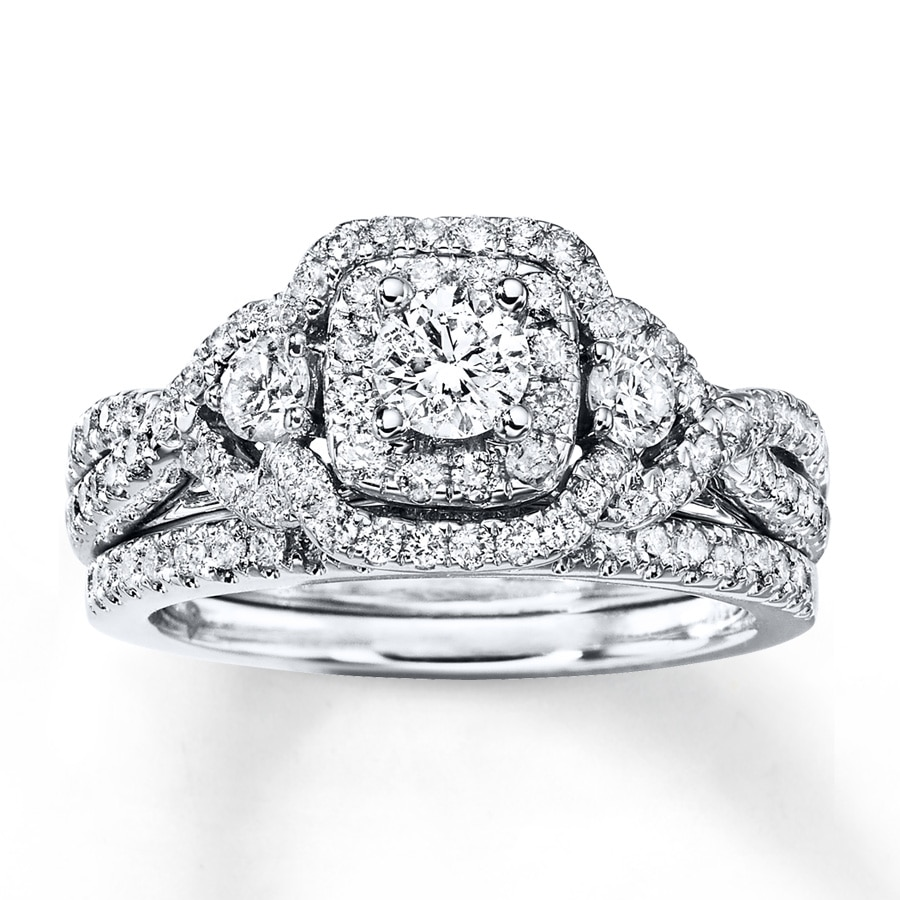 Diamond Bridal Set 1-1/8 Ct Tw Round-cut 14K White