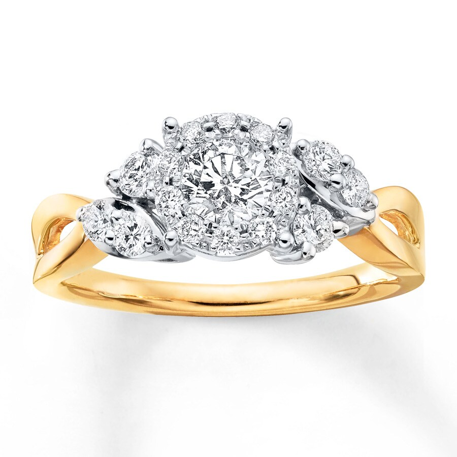 Jared Diamond Engagement Ring 5 8 ct tw Round cut 14K Two Tone Gold