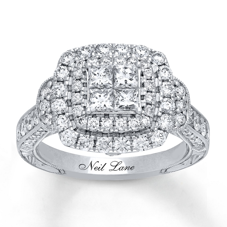 jared - neil lane engagement ring 1-5/8 ct tw diamonds 14k white gold