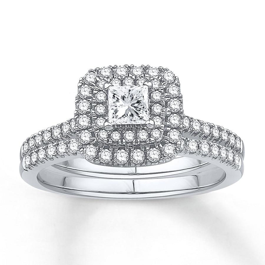 Jared Diamond Bridal Set 5 8 ct tw Princess cut Platinum
