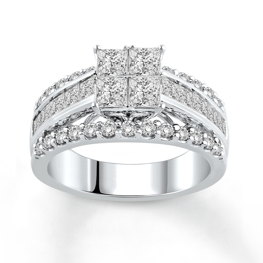 Jared Diamond Engagement Ring 212 ct tw Princesscut 14K White Gold