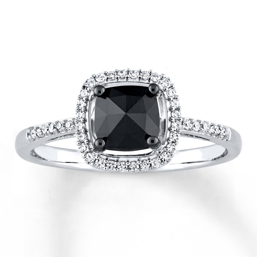 Black Diamond Engagement Ring 1 cttw Cushion-cut 14K White ...