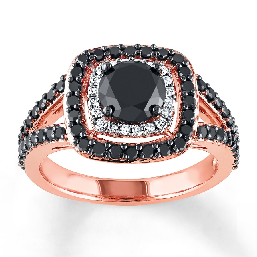 black diamond engagement ring 1 7 8 ct tw round 14k rose. Black Bedroom Furniture Sets. Home Design Ideas