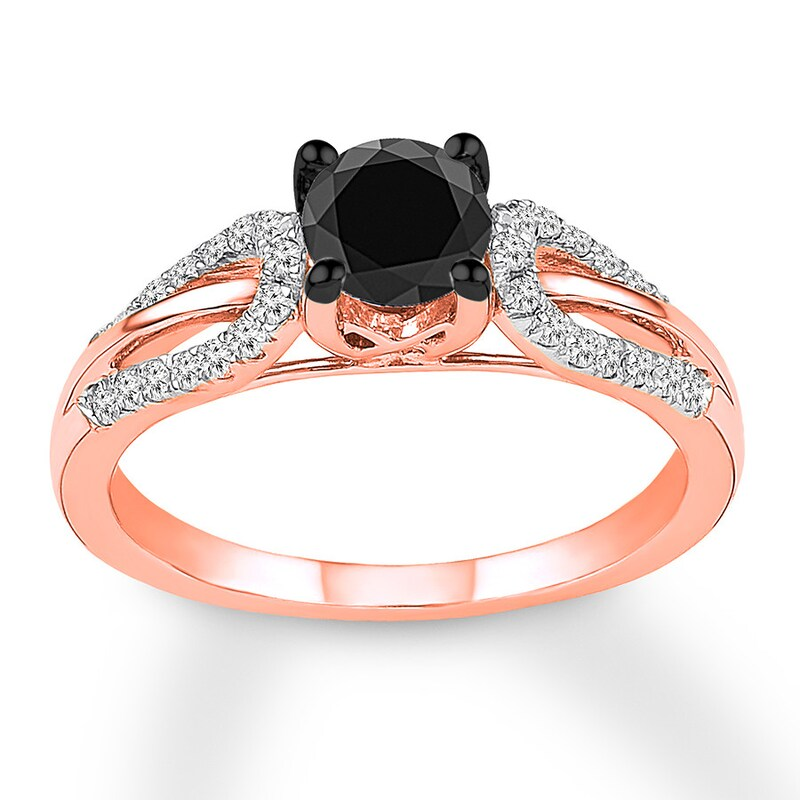 Rose Gold Black Diamond Wedding Ring