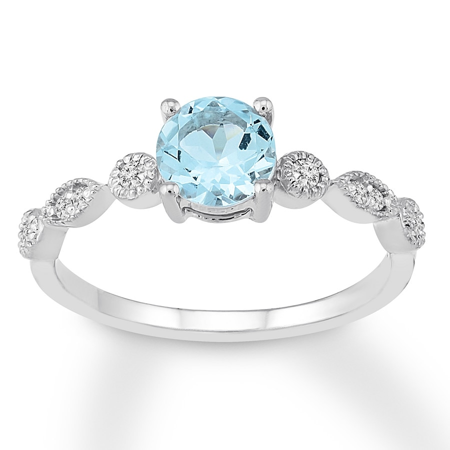 Image result for Aquamarine Engagement Ring 1/10 ct tw Diamonds 14K White Gold