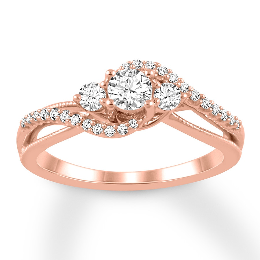 Diamond Engagement Ring 1 2 Ct Tw Round Cut 14k Rose Gold