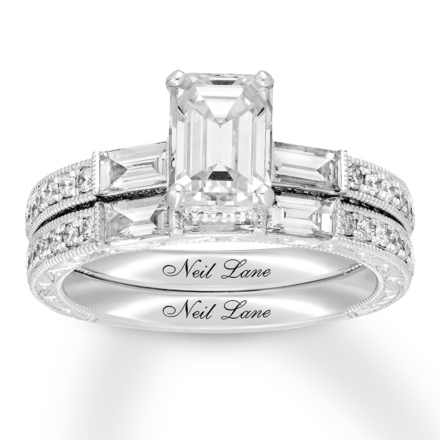 cb1d765727a13f Neil Lane Bridal Set 2-1/2 ct tw Emerald-cut 14K White Gold. Stock  #992543304 Write A Review. Tap to expand