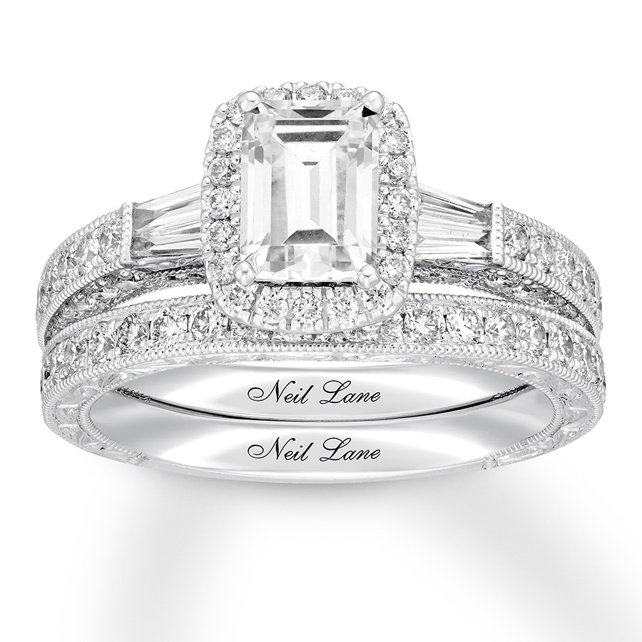 40a4d0ae0a1324 Neil Lane Bridal Set 1-7/8 ct tw Emerald-cut 14K White Gold ...