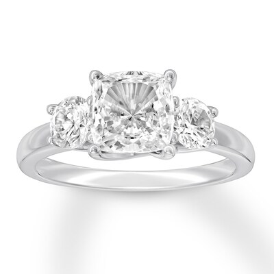 Diamond 3-Stone Ring 2-3/4 ct tw Cushion-cut 14K White Gold
