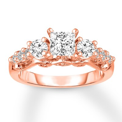 3-Stone Diamond Ring 1-3/8 ct tw Princess/Round 14K Rose Gold