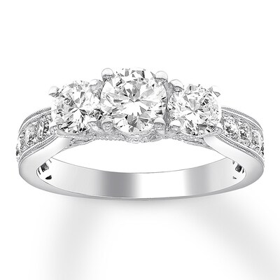 3-Stone Diamond Ring 1-1/2 ct tw Round 14K White Gold