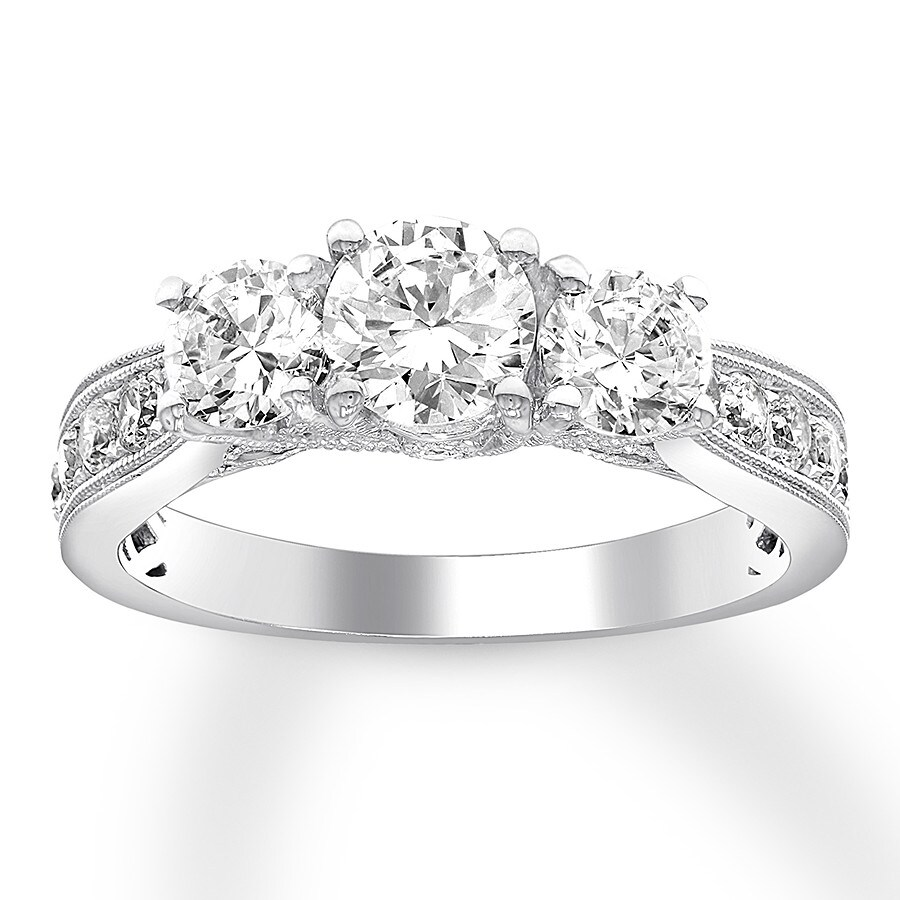 e22cfb5944f7bc 3-Stone Diamond Ring 1-1/2 ct tw Round 14K White Gold - 992715603 ...