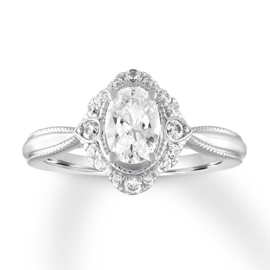 Black Diamond Ring 1 Ct Tw Oval Cut 14k White Gold: Diamond Engagement Ring 7/8 Ct Tw Oval-cut 14K White Gold