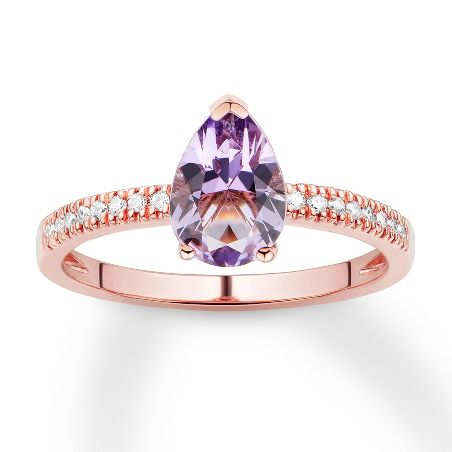 Rose Gold Wedding Ring.Pink Quartz Engagement Ring 1 6 Ct Tw Diamonds 14k Rose Gold