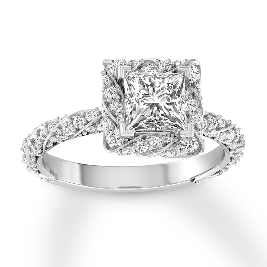 e0b52935c Diamond Engagement Ring 1-5/8 ct tw Princess-cut 14K White Gold. Stock  #992972000 Write A Review. Tap to expand